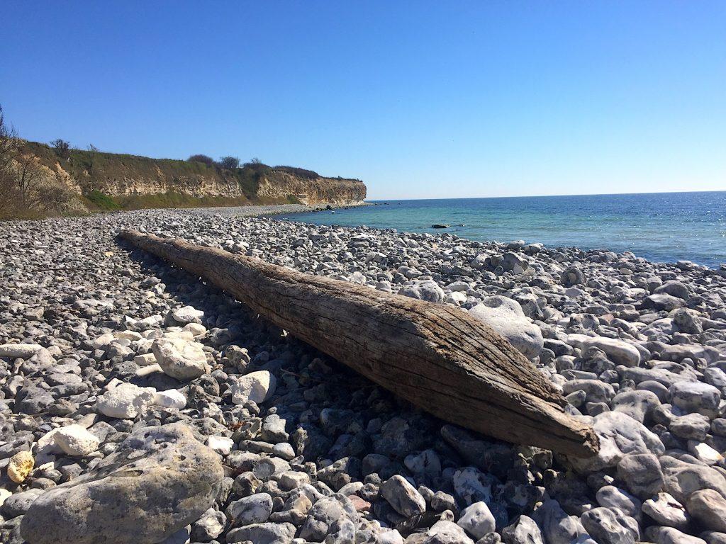 mindfulness i naturen på stranden ved Stevns Klint